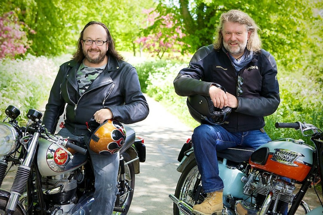 bikers hairy biking si furry motorcycle bbc ride eat motorbikes dave lead release restoration trip road