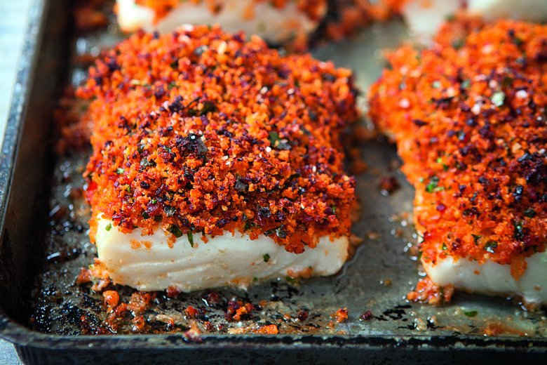 Baked fish with chorizo crust