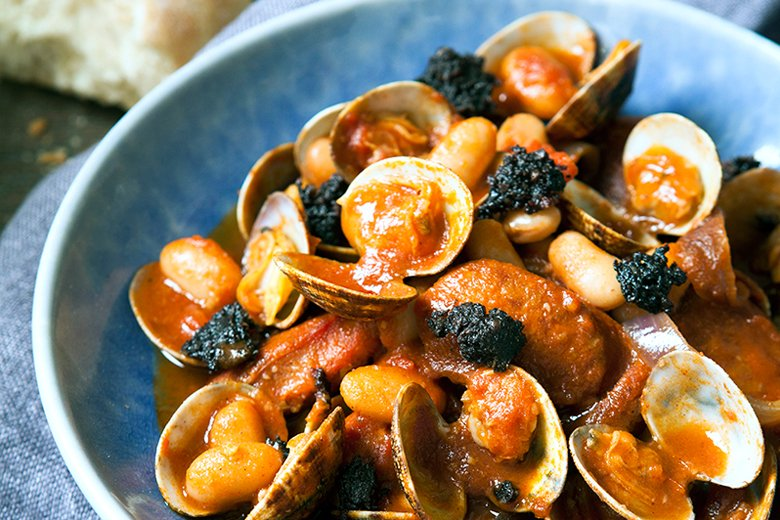 Chorizo, clams and white beans