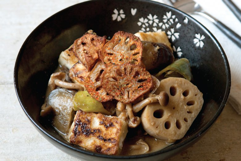 Tofu, aubergine and lotus root stew
