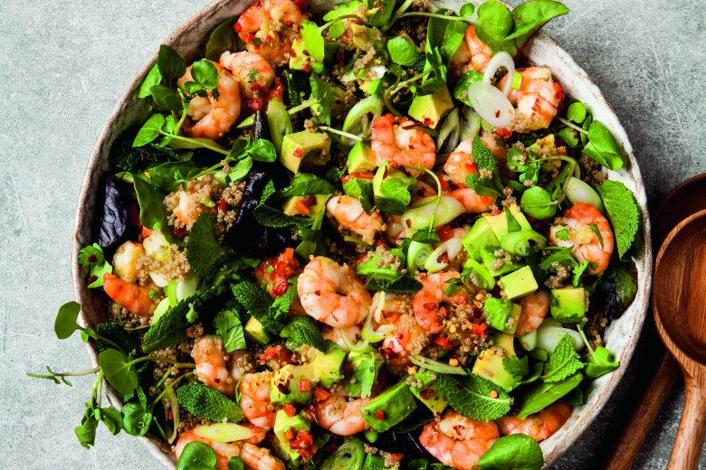 Prawn, avocado and quinoa salad