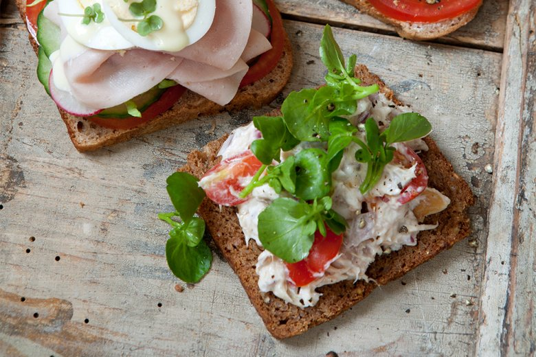 Topless mackerel pâté and watercress sandwich