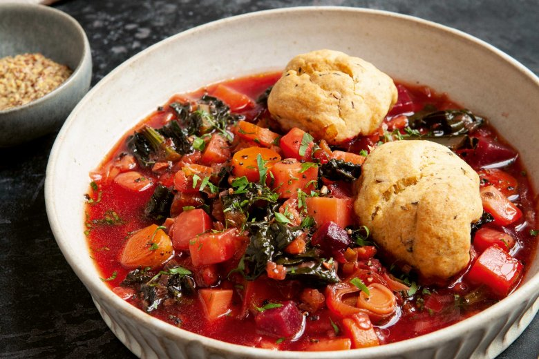 Winter Vegetable Soup with dumplings