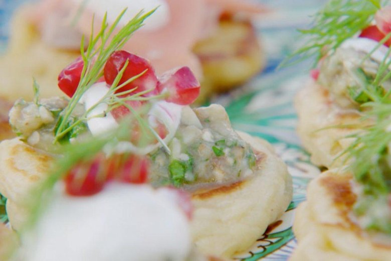 Aubergine and walnut caviar on blinis