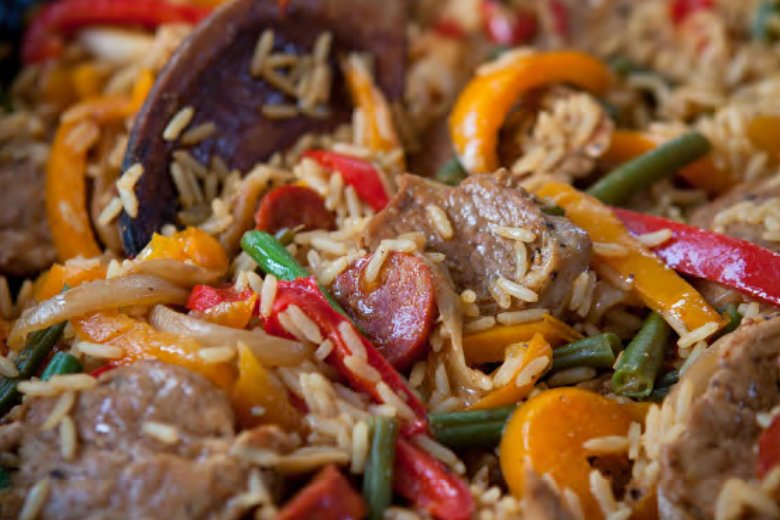 All-in-one spicy pork and rice