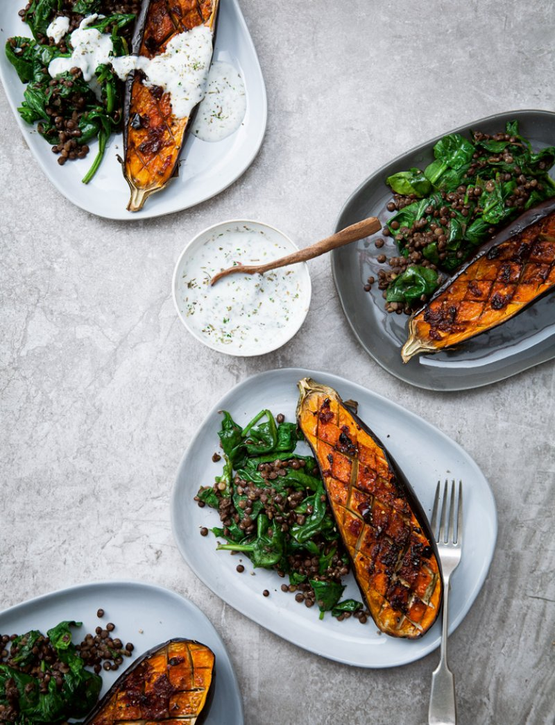 Aubergines with Harissa, Lentils and Greens