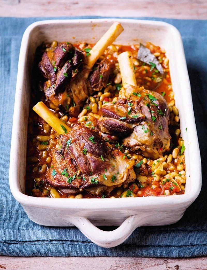 Lamb shanks and flageolet beans