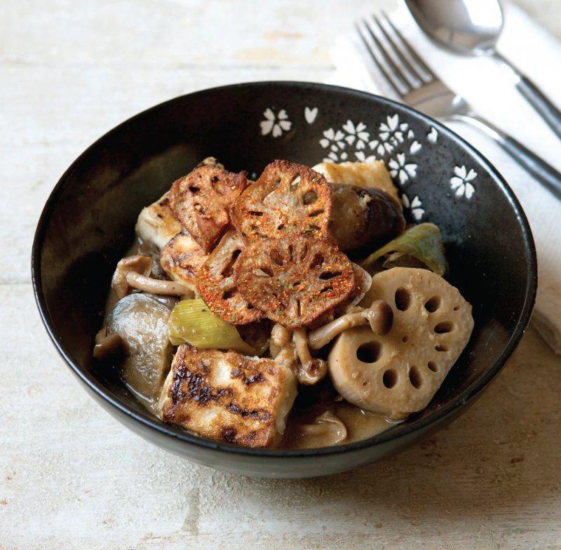 Tofu, aubergine and lotus root stew