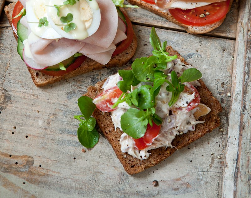 Topless mackerel pâté and watercress sandwich